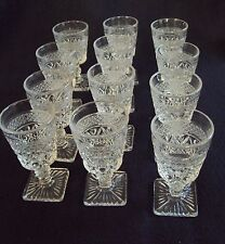 "Set of 12 Pressed Glass Cordial Wine Goblets 4 5/8"" high"