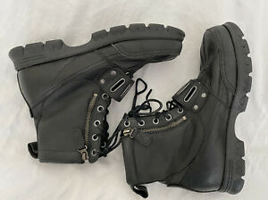 Polo Ralph Lauren Black Leather Duck Toe Boots Andres III Lace Zip Buckle  8.5