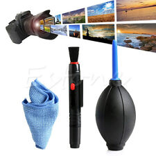 3 in 1 Lens Cleaner Set DSLR VCR Camera Pen Brush Dust Blower Cleaning Cloth Kit