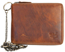 Metal zip-around wallet with shark whole made of genuine leather. Metal chain.