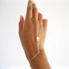 LUCKY HAMSA GOLD BRACELET HAND CHAIN BANGLE FINGER RING BODY HARNESS WOMENS