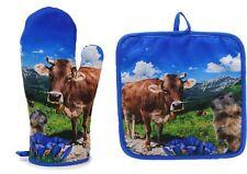 Alpen Ofenhandschuh und Topflappen Kuh Murmeltier 2er Set Les Alpes