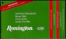 Remington Model 7600 Pump Action Center Fire Rifle Original Owner's Manual 1980