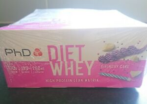 Full Box PhD Diet Whey Birthday Cake Protein Bars (12 x 65g) NEW