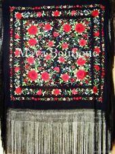 "Red Roses Hand Embroidered Flamenco Silk Piano Shawl Huge 90"" Maya Matazaro"