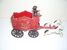 Metal Old time Circus Wagon Pulled by 2 Horses Driver Toy Good Condition