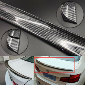 4.9ft Universal Carbon Fiber PU Car Spoiler Roof Trunk Wing Lip Trim Sticker Kit
