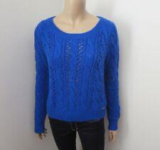 Hollister Womens Knit Crewneck Cropped Sweater Size Medium Royal Blue