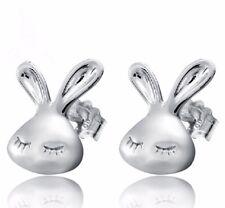 Kinder Hase Ohrstecker 925 Echt Silber Mädchen Damen Ohrringe Osterhase z-583