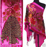 Hand Beaded Rose Red 100% Silk Burnout Velvet Embroider Peacock Shawl Scarf Wrap