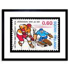 Postage Stamp Vintage Finland Ice Hockey Philately Framed Print 9x7 Inch