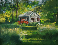 YARY DLUHOS ORIGINAL OIL PAINTING Country Farmhouse Vintage Truck Rural Country