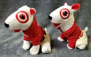 """Target Bullseye Dog Plush Bull Terrier Girl and Boy Khaki Pants Skirt 7"""" lot"""