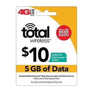 TOTAL WIRELESS  Prepaid $10 Refill Top-Up Prepaid Card ,PIN / RECHARGE