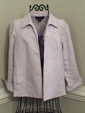 Talbots Petites Medium PM Womens Lavender Purple Irish Linen Open Blazer Jacket