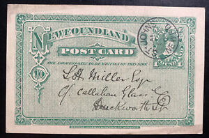 1900 St Johns Newfoundland Postal Stationery Postcard Cover