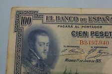 1925 100 PESETAS PHILIP II SERIE B SELLO EN SECO REPUBLICA BANKNOTE SPAIN
