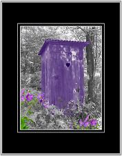 Purple Gray Outhouse Privy Photo Art Wall Decor Bathroom Picture with Mat