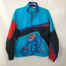 Vintage Nike Wind Breaker Jacket Boys XL 80's 90's Retro Teal 1/2 Zip Grafitti