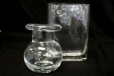 Lot of Two Heavy Clear Glass Vases