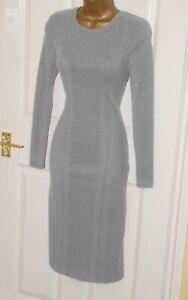 Grey Soft warm stretchy fine knit ribbed midi jumper smart day dress size 12
