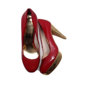 Michael Kors Red Patent Leather Pumps Gold Cork Heels Size 7.5 Valentine's Day