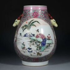 Antique Chinese Famille Rose Porcelain Figure Vase Zun