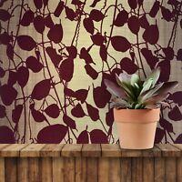 Wallpaper Burgundy Flocked Gold Metallic Textured Flocking Tree Leaves Velvet 3D