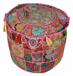 High Quality Handmade Moroccan Blue Patchwork Pouf Ottoman Stool for Home