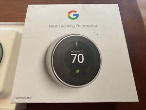 Google Nest Learning Smart Thermostat 3rd Generation Polished Steel