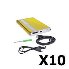 """Pack of 10 2.5"""" Coolmax USB 2.0 eSATA Aluminum External SATA HDD Enclosure New"""