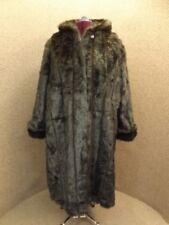 NEW Gorgeous Glam Jet Black Plush Mink Full Length Hooded Faux Fur Coat Sz 1X