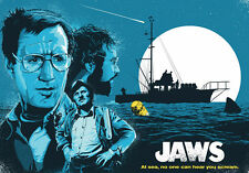 JAWS Movie poster * LARGE A3 SiZE QUALITY CANVAS PRINT