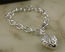 925 Silver Pltd Solid Chunky Link Chain Bracelet with Hollow Heart Charm -75