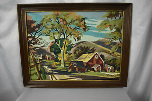 Vintage Paint by Number Framed Painting