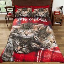 Cuddle Cats Tabby Kittens Double Duvet Cover Set Red Tartan
