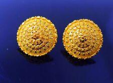 22 CT YELLOW GOLD LARGE EARRING MODERN FLORAL HANDMADE DESIGN FILIGREE WORK