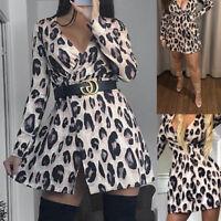 Womens Lurex Glitter Animal Print Wrap Skater Dress Long Sleeve Plunge V Neck