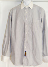TOMMY HILFIGER Striped Button Front Shirt Size 16 34-35 White Collar & Cuff