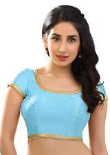 Sky Blue Polyester Raw Silk Dupion Casual Blouse Top Choli Wedding Saree INDIAN