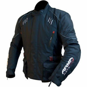 ARMR MOTO KANO MENS TEXTILE WATERPROOF ARMOURED MOTORCYCLE JACKET BLACK ALL SIZE
