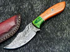 """DAMASCUS STEEL 8.0"""" HANDMADE FULL TANG SKINNING KNIFE - HARD WOOD - WD-6933"""