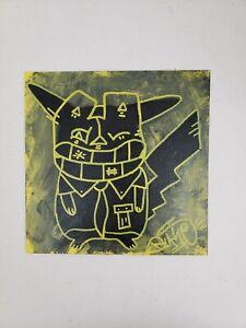 Pikachu Canvas rustycatachu Painting Anime Pokemon pop Art by nyc street artist