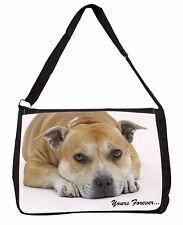 Red Staffie Dog 'Yours Forever' Large Black Laptop Shoulder Bag Schoo, AD-SBT8SB