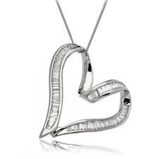 Diamond Heart Pendant Baguette Cut 1.00ct F VS 18ct White Gold Heart with Chain