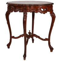 Antique French Louis XV Carved and Paint Decorated Mahogany Center Table