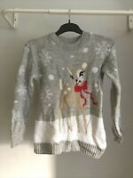 Ladies Women's- Christmas Jumper Size 8 - Grey Multi - Winter - 🎄