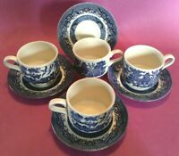 Set Of 4 Churchill Blue Willow Cups And Saucers - Blue Transferware - England