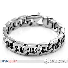 Fashion Men's Vintage Stainless Steel Bracelet Square Link Chain Heavy Duty B15