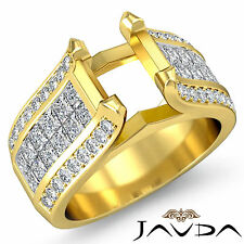 Pave Invisible Set Diamond Wedding Round Semi Mount Ring 14k Yellow Gold 1.7Ct